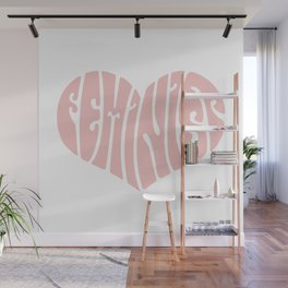 Feminist '70s Typography Heart Wall Mural