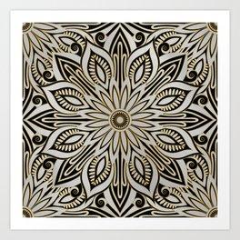 Silver, Black and Gold Mandala Art Print