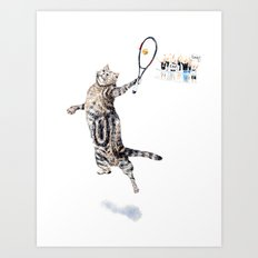 Cat Playing Tennis Art Print