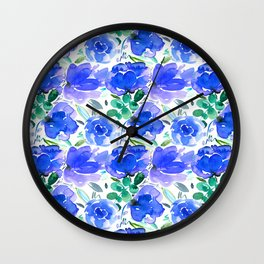 Big Blue Watercolour Painted Floral Pattern Wall Clock