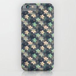 simple, rustic, flowers, flower pattern, grey background iPhone Case