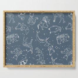 Origami Constellations - geometric animals constellations design - blue Serving Tray