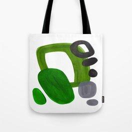 Mid Century Vintage 70's Design Abstract Minimalist Colorful Pop Art Olive Green Dark Green Grey Tote Bag
