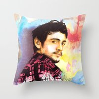 james franco Throw Pillows featuring James Franco by Anguiano Art