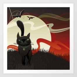 Halloween. Black Cat. Art Print