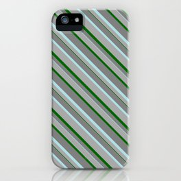 Grey, Powder Blue, Dark Gray, and Dark Green Colored Stripes/Lines Pattern iPhone Case