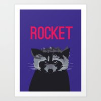 rocket racoon Art Prints featuring R IS FOR ROCKET, R IS FOR RACOON by teamrockettes