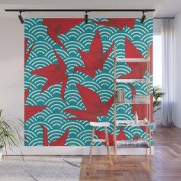 Origami red paper cranes sketch. burgundy maroon line Nature oriental Wall Mural