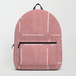 Block Print Simple Squares in Coral Backpack