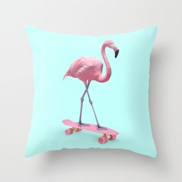 SKATE FLAMINGO Throw Pillow