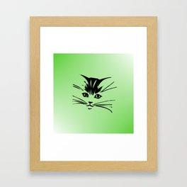 Green Cat Face Framed Art Print