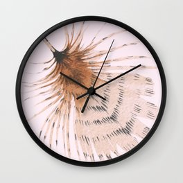 Delicate Brown Feather Seamless Pattern On Pink Wall Clock