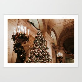Christmas in New York; The Public Library | Colourful Travel Photography | New York City, America (USA) Art Print
