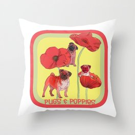Pugs and Poppies Throw Pillow