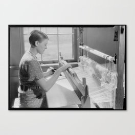 Alice McCarter, weaving a baby blanket Canvas Print