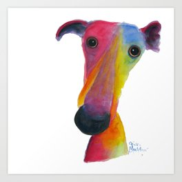 Nosey Dog Whippet Greyhound ' PUMPKIN ' by Shirley MacArthur Art Print