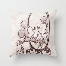 Mouse in the Mirror Throw Pillow