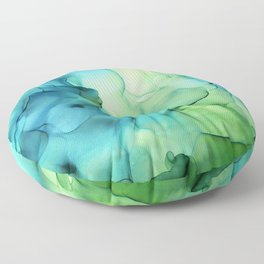 Blue Green Spring Marble Abstract Ink Painting Floor Pillow