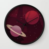 solar system Wall Clocks featuring Solar System by badOdds