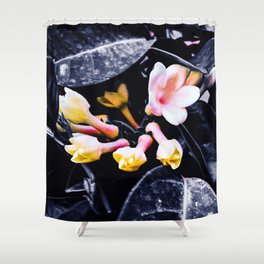 black and white leaves pink yellow white flowers jasmine Shower Curtain