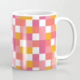Geometric Tile Pattern in Coral, Pink and Yellow Coffee Mug