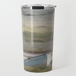 Old wood boat parked alone on the sand Travel Mug