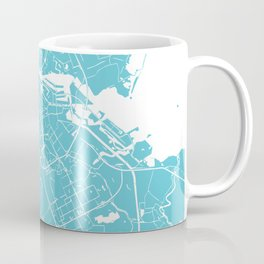 Amsterdam Turquoise on White Street Map Coffee Mug