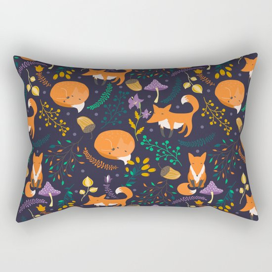 Foxes in magic forest Rectangular Pillow