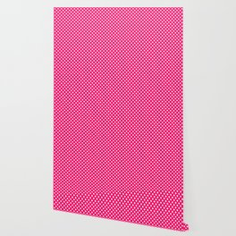 Small White Crosses on Hot Neon Pink Wallpaper