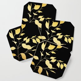 Gold & Black Leaves Coaster