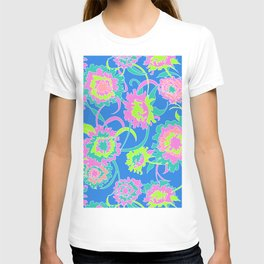 Bold Tropical Floral in Neon Blue + Lime T-shirt