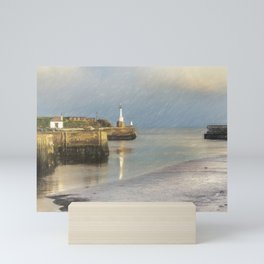 Maryport Harbour Entrance At Low Tide Mini Art Print