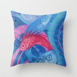 The Spawning, Underwater Art, Fish Throw Pillow