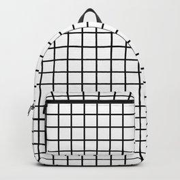 fine black grid on white background - black and white pattern Backpack