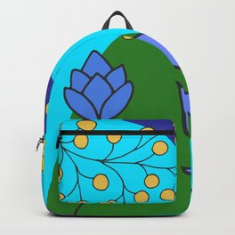Abstract Flowers on Aqua Backpack