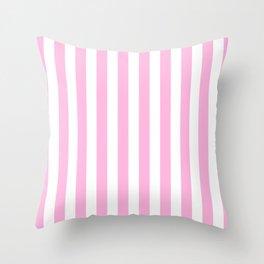 Vertical Stripes (Pink & White Pattern) Throw Pillow