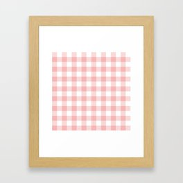 Coral Checker Gingham Plaid Framed Art Print
