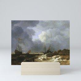 Jacob van Ruisdael - Ships in stormy weather off the coast Mini Art Print