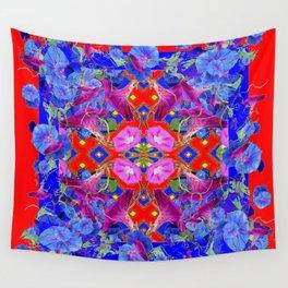 Red Garden Art  Blue Morning Glories Purple Patterns Wall Tapestry