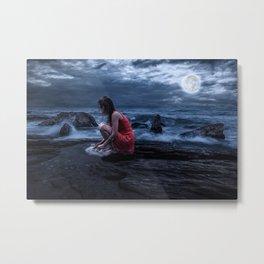 Woman Bathing in the Sea Beneath a Full Moon Metal Print