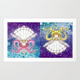Sailor Moon: Princess Serenitys on Galaxy Art Print