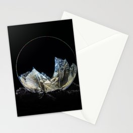 Golden and blue frozen bubble Stationery Cards