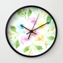 Dreamy and colorful watercolor flowers bouquet Wall Clock