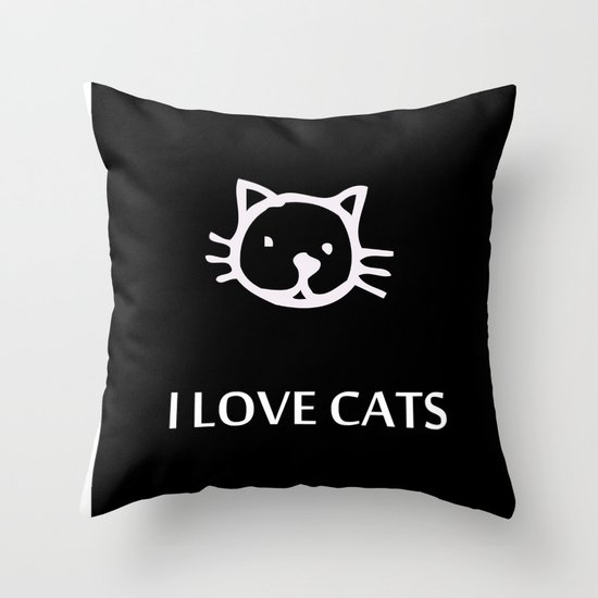 I LOVE CATS Throw Pillow