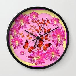 Modern Pink Butterflies Floral Abstract Wall Clock
