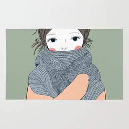 cute winter girl.Beautiful young girl hugging her French scolded himself during the winter. She may Rug