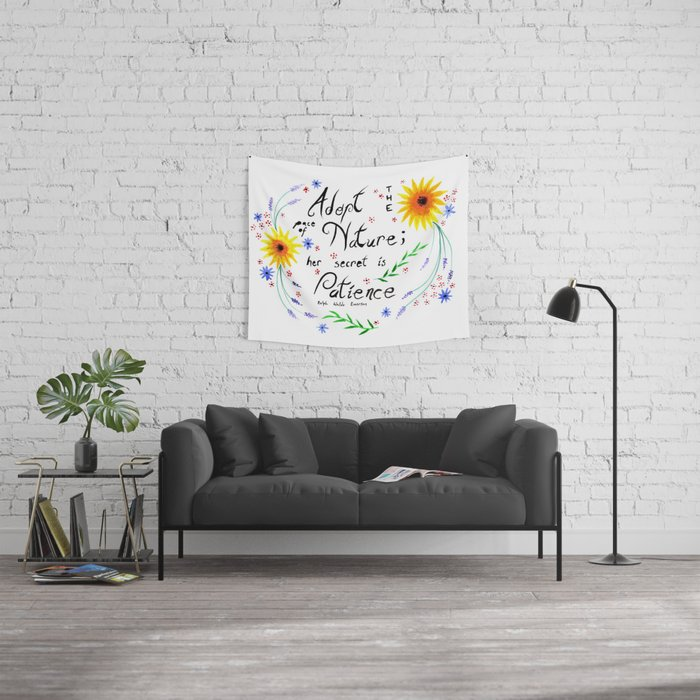 Pace of Nature Watercolor Typography with Flowers Wall Tapestry