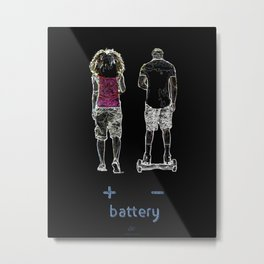 Battery (+/-) 1, on Black background. Metal Print