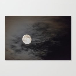 Waning moon and clouds with Saturn Canvas Print