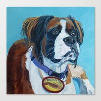 nori Canvas Prints featuring Nori the Therapy Boxer by Barking Dog Creations Studio